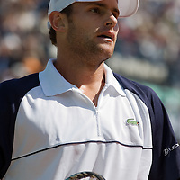 29 May 2007: Andy Roddick of United States of America is seen during the Men's Singles 1st round match, won 3-6, 6-4, 6-3, 6-4 by Igor Andreev over Andy Roddick, on day three of the French Open at Roland Garros in Paris, France.