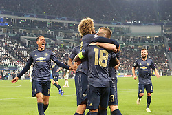 November 7, 2018 - Turin, Piedmont, Italy - Manchester United players celebrate after Alex Sandro's own goal during the UEFA Champions League match between Juventus FC and Manchester United FC,  at Allianz Stadium on November 07, 2018 in Turin, Italy..Juventus FC lost 1-2 against Manchester United. (Credit Image: © Massimiliano Ferraro/NurPhoto via ZUMA Press)