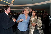 JAY RAYNER; SILVENA ROWE; RAVINDER BHOGAL, The French Laundry reception to celebrate the October opening of the 10-day pop-up ' French laundry restaurant in Harrods. The Penthouse, Harrods. London. 31 August 2011.<br /> <br />  , -DO NOT ARCHIVE-© Copyright Photograph by Dafydd Jones. 248 Clapham Rd. London SW9 0PZ. Tel 0207 820 0771. www.dafjones.com.