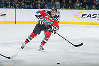 KELOWNA, CANADA - NOVEMBER 21: Lucas Johansen #7 of Kelowna Rockets passes the puck against the Portland Winterhawks on November 21, 2014 at Prospera Place in Kelowna, British Columbia, Canada.  (Photo by Marissa Baecker/Shoot the Breeze)  *** Local Caption *** Lucas Johansen;