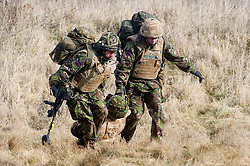 4 Mech Bde taking part in realistic Mission Specific Training on Salisbury Plain Training Area before deployment to Helmand Province Afghanistan. Members of the Royal Dragoon Guards pull a simulated battle casualty to safety before providing first aid  9 Feb 2010