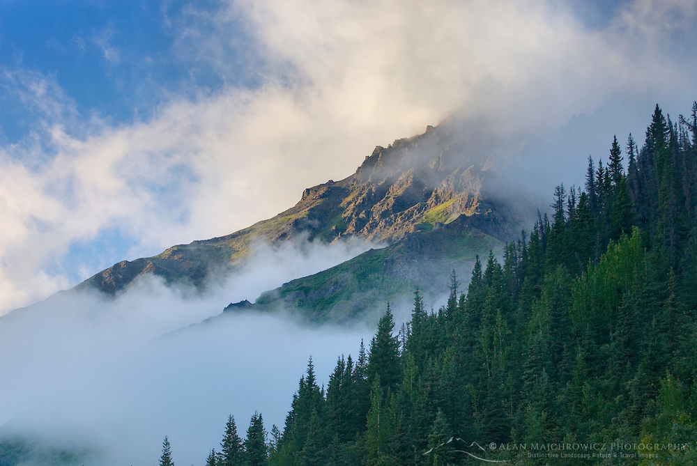 Storm clouds lifting off mountains in Wrangell-St. Elias National Park Alaska