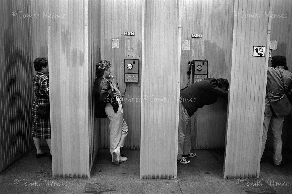 CESKOSLOVENSKO 80s - Ceskoslovenska socialisticka republika<br /> Telefonni koje, casto nefungujici automaty, casto jedina moznost si zavolat...Nekdy se na domaci telefonni linku cekalo generace (rodice autora snimku podali zadost a cekali 17 let) Dockali se  po revoluci...