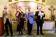 Photo by Gary Cosby Jr.  Antioch United Methodist Church hosted the Morgan County Singing Convention Saturday at the church near Somerville.   Rev. Allen Layton, Faye Thornell, Phillip Thornell and John Eversman comprise a quartet and lead the singing in some old gospel favorites.