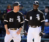 CHICAGO - APRIL 06:  Todd Frazier #21 and first base coach Daryl Boston #8 of the Chicago White Sox look on against the Detroit Tigers on April 6, 2017 at Guaranteed Rate Field in Chicago, Illinois.  The White Sox defeated the Tigers 11-2.  (Photo by Ron Vesely)   Subject:  Todd Frazier; Daryl Boston