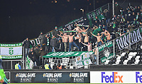 Fotball Menn UEFA Europa League<br /> Rosenborg - Sporting CP<br /> Lerkendal Stadium, Trondheim, Norway<br /> 7 november 2019<br /> <br /> Sporting CP's tilreisende supportere med bar overkropp<br /> <br /> <br /> Foto : Arve Johnsen, Digitalsport