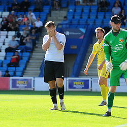 TELFORD COPYRIGHT MIKE SHERIDAN CHANCE. Lewis Reilly of Telford sees his header go inches wide during the National League North fixture between AFC Telford United and Nantwich Town on Saturday, September 21, 2019.<br /> <br /> Picture credit: Mike Sheridan<br /> <br /> MS201920-020