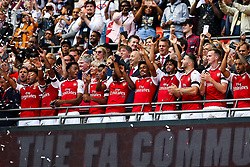 Arsenal celebrate after winning the penalty shootout to lift the Community Shield - Rogan Thomson/JMP - 06/08/2017 - FOOTBALL - Wembley Stadium - London, England - Arsenal v Chelsea - FA Community Shield.