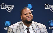 Apr 6, 2018; Thousand Oaks, CA, USA; Los Angeles Rams defensive tackle Ndamukong Suh is introduced at a press conference at Cal Lutheran.
