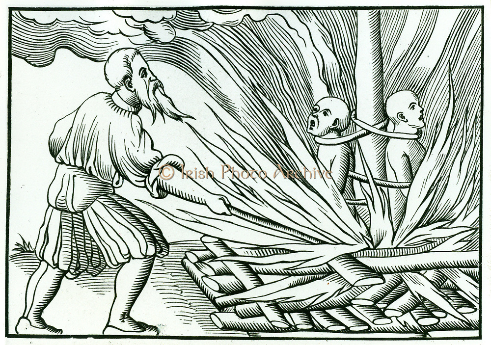 Execution by burning at the stake.  Persons accused of spreading plague were dealt with summarily, and the slightest suspicion was enough for someone to be condemned by a frightened populace.  From Sebastian Munster 'Cosmographia Universalis', Basle, 1552