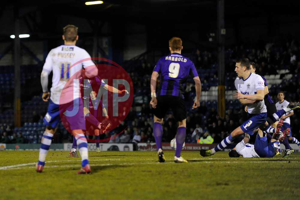 Bristol Rovers' Ollie Clarke (hidden) scores a goal to make it 1 - 1 - Photo mandatory by-line: Dougie Allward/JMP - Mobile: 07966 386802 01/04/2014 - SPORT - FOOTBALL - Bury - Gigg Lane - Bury v Bristol Rovers - Sky Bet League Two