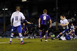 Bristol Rovers' Ollie Clarke (hidden) scores a goal to make it 1 - 1 - Photo mandatory by-line: Dougie Allward/JMP - Mobile: 07966 386802 01/04/2014 - SPORT - FOOTBALL - Bury - Gigg Lane - Bury v Bristol Rovers - Sky Bet League Two