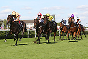 A'ALI (1) ridden by Frankie Dettori and trained by Simon Crisford winning The Group 2 Wainwright Flying Childers Stakes over 5f (£70,000)   during the third day of the St Leger Festival at Doncaster Racecourse, Doncaster, United Kingdom on 13 September 2019.
