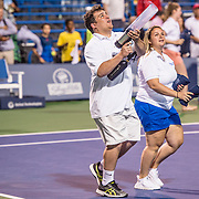August 22, 2016, New Haven, Connecticut: <br /> T-shirts are launched into the stands before a match a match on Day 4 of the 2016 Connecticut Open at the Yale University Tennis Center on Monday August  22, 2016 in New Haven, Connecticut. <br /> (Photo by Billie Weiss/Connecticut Open)