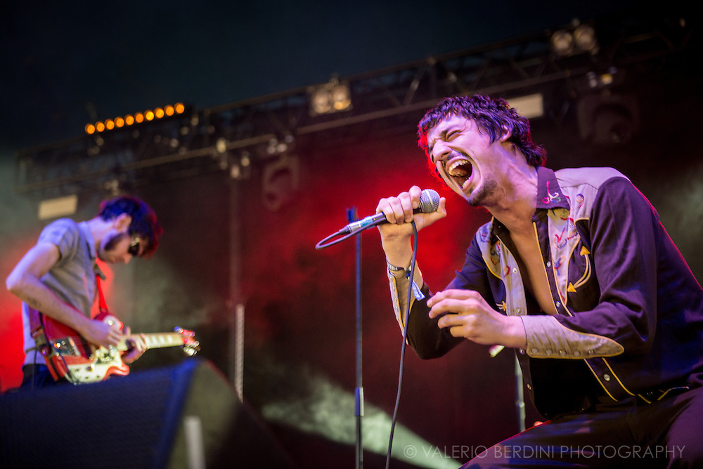 Fat White Family singer Lias Soudi live at Field Day Festival in London on Sunday, 12 June 2016.