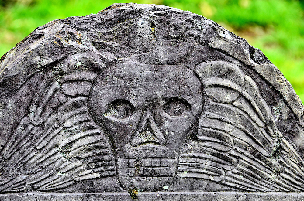 Winged Skull Tombstone in Salem Street Burying Ground in Salem, Massachusetts<br />