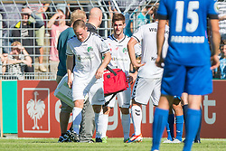 09.08.2015, Stadion Lohmühle, Luebeck, GER, DFB Pokal, VfB Luebeck vs SC Paderborn 07, 1. Runde, im Bild Henrik Sirmais (Nr. 9, VfB Luebeck) wird mit einem blutigen Gesicht verarztet // during German DFB Pokal first round match between VfB Luebeck vs SC Paderborn 07 at the Stadion Lohmühle in Luebeck, Germany on 2015/08/09. EXPA Pictures © 2015, PhotoCredit: EXPA/ Eibner-Pressefoto/ KOENIG<br /> <br /> *****ATTENTION - OUT of GER*****