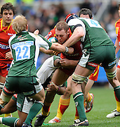 Reading, GREAT BRITAIN, Perpingnan's, Ramis ALVAREZ-KAIRELIS, is tackled by three exile players, left Shane GERAGHTY, Bob CASEY and grounded Steffon ARMITAGE. during the Heineken, Quarter Final, Cup rugby match,  London Irish vs Perpignan, at the Madejski Stadium on Sat 05.04.2008 [Photo, Peter Spurrier/Intersport-images]