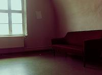 House interior with purple sofa