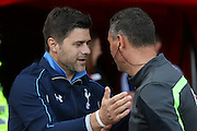 Tottenham Hotspur Manager Mauricio Pochettinoans the 4th Assistant  during the Barclays Premier League match between Sunderland and Tottenham Hotspur at the Stadium Of Light, Sunderland, England on 13 September 2015. Photo by Simon Davies.