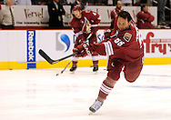 Apr 23, 2010; Glendale, AZ, USA; Phoenix Coyotes defenseman Ed Jovanovski (55) warms up prior to game five in the first round of the 2010 Stanley Cup Playoffs at Jobing.com Arena.  Mandatory Credit: Jennifer Stewart-US PRESSWIRE