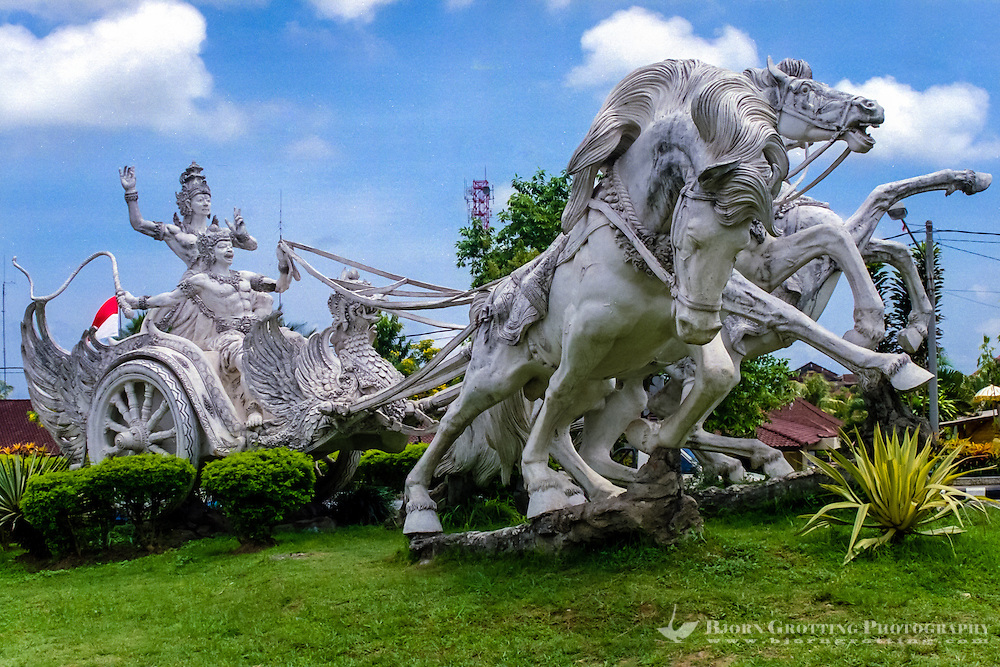 Bali, Gianyar. One of the many large statues in this area. Close to the center of Gianyar city.