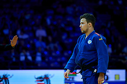 Warsaw, Poland - 2017 April 20: Adrian Gomboc from Slovenia (blue) while the men&iacute;s 66kg semifinal during European Judo Championships 2017 at Torwar Hall on April 20, 2017 in Warsaw, Poland.<br /> <br /> Mandatory credit:<br /> Photo by &copy; Adam Nurkiewicz / Mediasport / Sportida<br /> <br /> Adam Nurkiewicz declares that he has no rights to the image of people at the photographs of his authorship.<br /> <br /> Picture also available in RAW (NEF) or TIFF format on special request.<br /> <br /> Any editorial, commercial or promotional use requires written permission from the author of image.