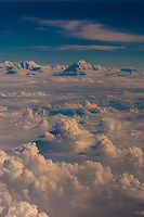 Aerial view of Himalayas flying from Kashmir to Delhi, India.