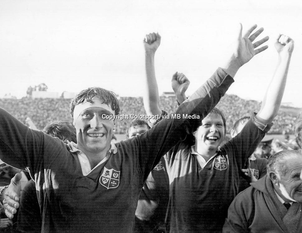 Willie John McBride - British Lions. Celebrates victory in the 3rd.Test @ Port Elizabeth. South Africa v British Lions, 13/7/74. Credit: Colorsport.