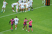 Jonathan DANTY (Stade Francais) celebrated it try with Jules Plisson (Stade Francais), Benjemin TAMEIFUNA (Racing Metro 92), Djibril Camara (Stade Francais) during the French Championship Top 14 Rugby Union match between Stade Francais Paris and Racing Metro 92 on April 30, 2017 at Jean Bouin stadium in Paris, France - Photo Stephane Allaman / ProSportsImages / DPPI