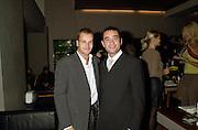 Johnnie Le Miller and Dominic Anzione. Gilda's Club party. Isola. London. 5/2/01 © Copyright Photograph by Dafydd Jones 66 Stockwell Park Rd. London SW9 0DA Tel 020 7733 0108 www.dafjones.com