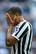Jose Salomon Rondon (#9) of Newcastle United reacts after his shot is cleared off the goal line during the Premier League match between Newcastle United and Huddersfield Town at St. James's Park, Newcastle, England on 23 February 2019.