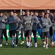 NLD/Katwijk/20110321 - Training Nederlandse Elftal Hongarije - NLD, warming up, team,
