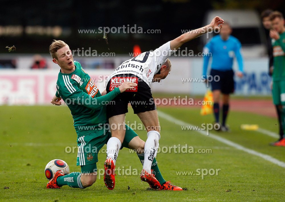 18.10.2015, Lavanttal Arena, Wolfsberg, AUT, 1. FBL, RZ Pellets WAC vs SK Rapid Wien, 12. Runde, im Bild v.l. Florian Kainz (SK Rapid Wien) und Christoph Rabitsch (RZ Pellets WAC) // during the Austrian Football Bundesliga 12th Round match between RZ Pellets WAC and SK Rapid Wien at the Lavanttal Arena in Wolfsberg Austria on 2015/10/18, EXPA Pictures © 2015, PhotoCredit: EXPA/ Wolfgang Jannach