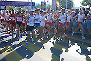 (3R) Yared Shegumo and (2R) Marcin Chabowski) and (4R) Henryk Szost all from Poland compete in men's marathon on the start line during the Sixth Day of the European Athletics Championships Zurich 2014 at Letzigrund Stadium in Zurich, Switzerland.<br /> <br /> Switzerland, Zurich, August 17, 2014<br /> <br /> Picture also available in RAW (NEF) or TIFF format on special request.<br /> <br /> For editorial use only. Any commercial or promotional use requires permission.<br /> <br /> Photo by &copy; Adam Nurkiewicz / Mediasport