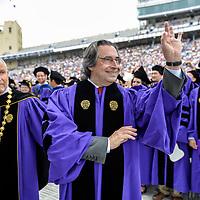 Italian conductor Riccardo Muti acknowledges graduates at Northwestern Universities Commencement ceremony.