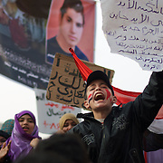 People gathered in Cairo's Tahrir Square during the 7th day of protests against the military rule.