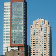 Nederland, Rotterdam, 7 maart 2011 20110307 .Stadsgezicht wolkenkrabbers hoogste woontoren van Nederland Montevideo New Orleans, The Netherlands, dutch, Pays Bas, Europe ..Foto: David Rozing