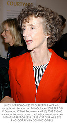 LINDY, MARCHIONESS OF DUFFERIN & AVA at a reception in London on 14th October 2002.PEA 284