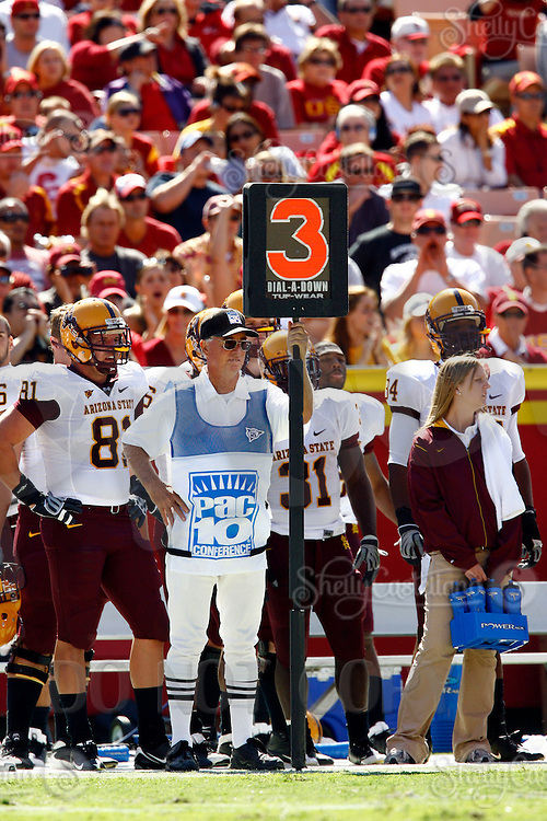 11 October 2008: NCAA Pac-10 USC Trojans 28-0 shut-out win over the Arizona State University Sun Devils during a day college football game at the Los Angeles Memorial Coliseum in Southern California. 3rd down official sideline marker.