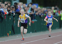21 Aug 2016: Abbie Doyle, left, from Wexford, on her way to winning the Girls U10 100m Final. 2016 Community Games National Festival 2016.  Athlone Institute of Technology, Athlone, Co. Westmeath. Picture: Caroline Quinn