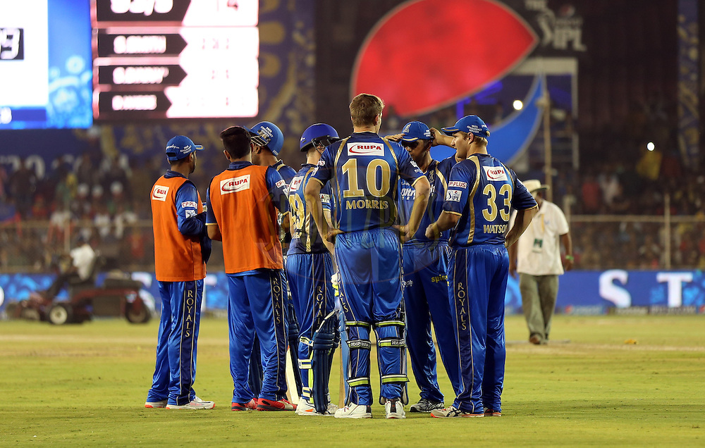 Rajasthan Royals team during match 22 of the Pepsi IPL 2015 (Indian Premier League) between The Rajasthan Royals and The Royal Challengers Bangalore held at the Sardar Patel Stadium in Ahmedabad , India on the 24th April 2015.<br /> <br /> Photo by:  Sandeep Shetty / SPORTZPICS / IPL