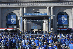 Nov 3, 2015; Kansas City, MO, USA; A general view as fans and players celebrate the championship at Union Station. Mandatory Credit: Denny Medley-USA TODAY Sports