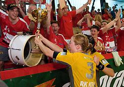 Spela Cerar with fans Krimovci at the Final handball game of the Slovenian Women handball Championship between RK Krim Mercator and RK Olimpija when Krim Mercator won the Championship and became Slovenian National Champion, on May 23, 2009, Kodeljevo, Ljubljana, Slovenia.  (Photo by Klemen Kek / Sportida)