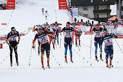 10.01.2015, Langlaufstadion, Lago di Tesero, ITA, FIS Tour de Ski, Langlauf Herren, Mass Start 15Km, im Bild Belov Evgeny (Rus), Tscharnke Tim (Ger) // during the Men 15 km Cross Country of the FIS Tour de Ski 2015 at the Cross Country Stadium, Lago di Tesero, Italy on 2015/01/10. EXPA Pictures ©  2013, PhotoCredit: EXPA/ Federico Modica