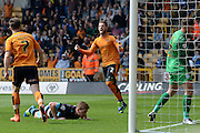 \Wolves players celebrate Sheffield Wednesday defender Michael Turner own goal during the Sky Bet Championship match between Wolverhampton Wanderers and Sheffield Wednesday at Molineux, Wolverhampton, England on 7 May 2016. Photo by Alan Franklin.