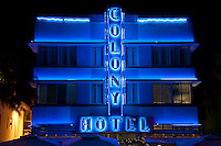 Miami Beach, FL - February 2009 - View of Hotel Colony. The Colony Hotel is one of the most recognized buildings in the art deco district in Miami Beach Florida. The hotel has recently renovated.