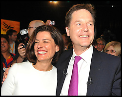 Deputy Prime Minister Nick Clegg with his wife Miriam after delivering his keynote speech at the end of the Liberal Democrats Conference in Brighton, Wednesday September 26, 2012 Photo Andrew Parsons / i-Images..
