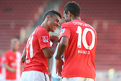 20.07.2013, Coface Arena, Mainz, GER, Testspiel, 1. FSV Mainz 05 vs West Ham United, im Bild Shawn Parker (Mainz) feiert das Elfmetertor mit Eric-Maxim Choupo-Moting (Mainz),,  // during the Friendly Match between 1. FSV Mainz 05 and West Ham United at the Coface Arena, Mainz, Germany on 2013/07/20. EXPA Pictures © 2013, PhotoCredit: EXPA/ Eibner/ Bildpressehaus<br /> <br /> ***** ATTENTION - OUT OF GER *****