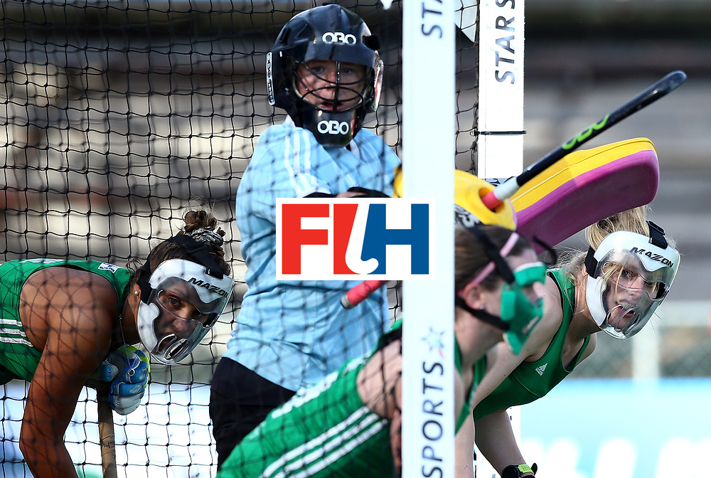 JOHANNESBURG, SOUTH AFRICA - JULY 12:  Ireland players look from the goal during day 3 of the FIH Hockey World League Semi Finals Pool A match between Ireland and Poland at Wits University on July 12, 2017 in Johannesburg, South Africa.  (Photo by Jan Kruger/Getty Images for FIH)